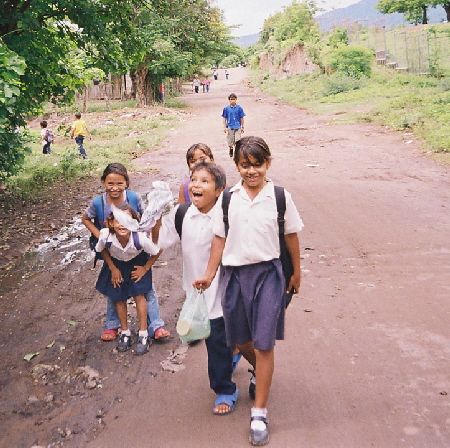 Kids returning from school